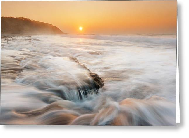 Evening Scenes Greeting Cards - Azkorri beach at sunset Greeting Card by Mikel Martinez de Osaba