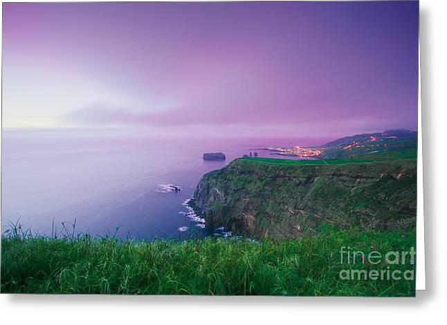 Azoren Greeting Cards - Azores coastal landscape Greeting Card by Gaspar Avila