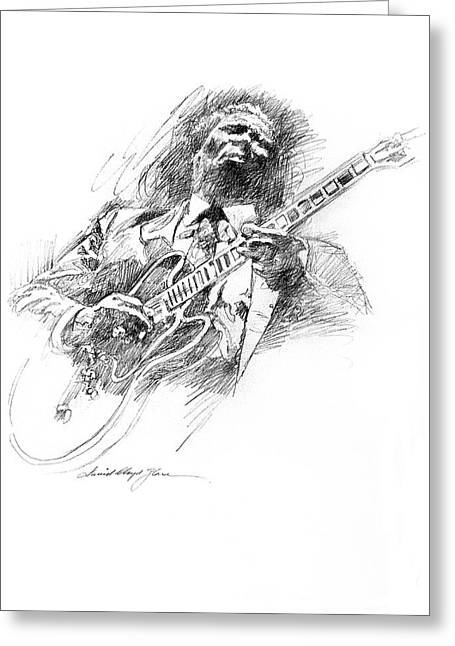 Drawings Greeting Cards - B B KING and LUCILLE Greeting Card by David Lloyd Glover