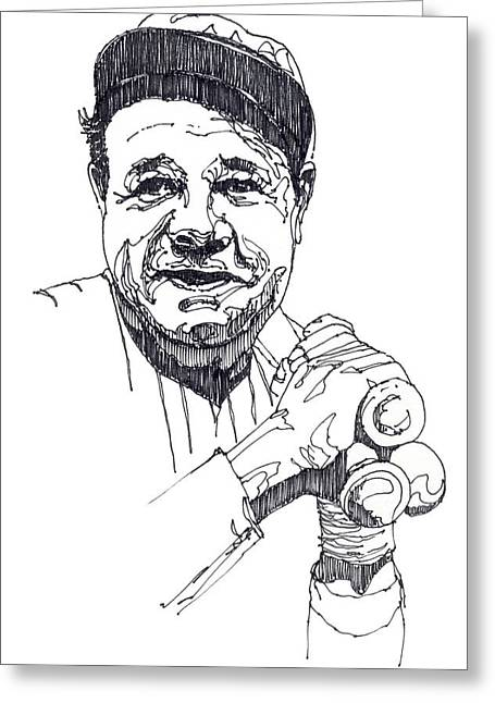The Babe Greeting Cards - Babe Ruth Greeting Card by John D Benson