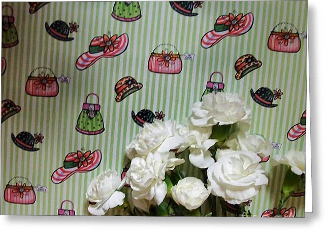 Preteen Greeting Cards - Baby Carnations Against the Wallpaper Greeting Card by Marsha Heiken