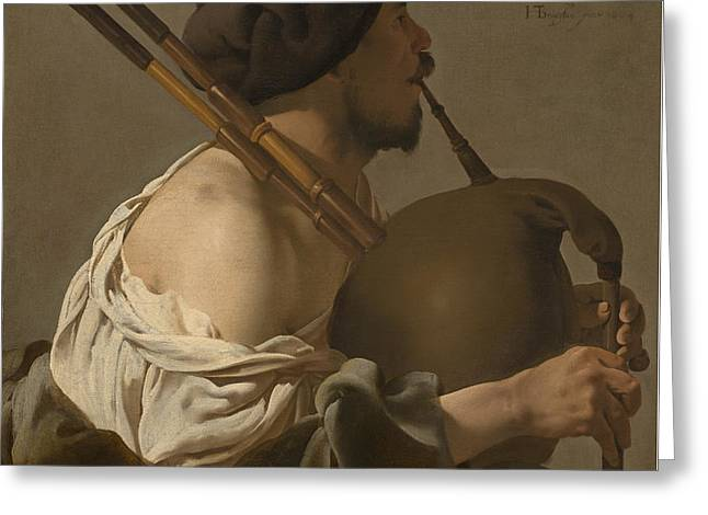 Beret Greeting Cards - Bagpipe Player Greeting Card by Hendrick Ter Brugghen