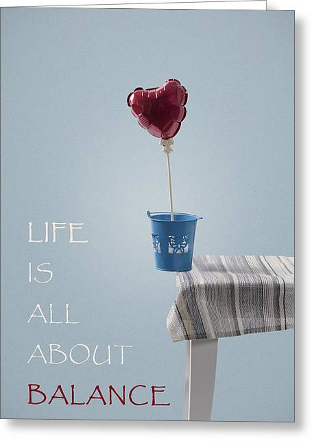 Balloon Greeting Cards - Balance Greeting Card by Joana Kruse