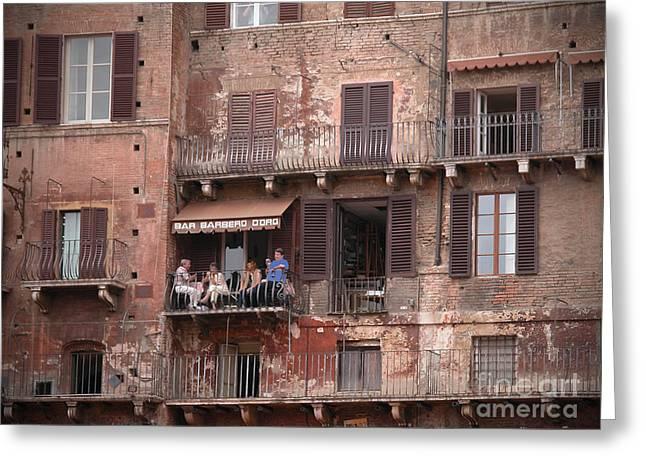 Balcony Bar Siena Greeting Card by Jim Wright