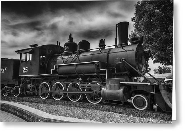 Black Clouds Greeting Cards - Baldwin Steam Engine Greeting Card by Garry Gay
