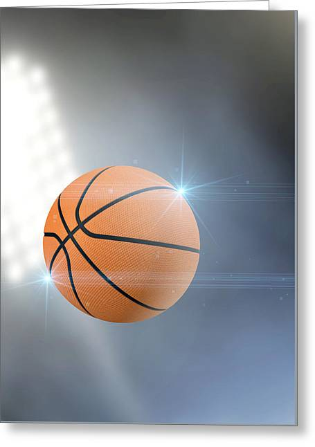 Basketballs Digital Greeting Cards - Ball Flying Through The Air Greeting Card by Allan Swart