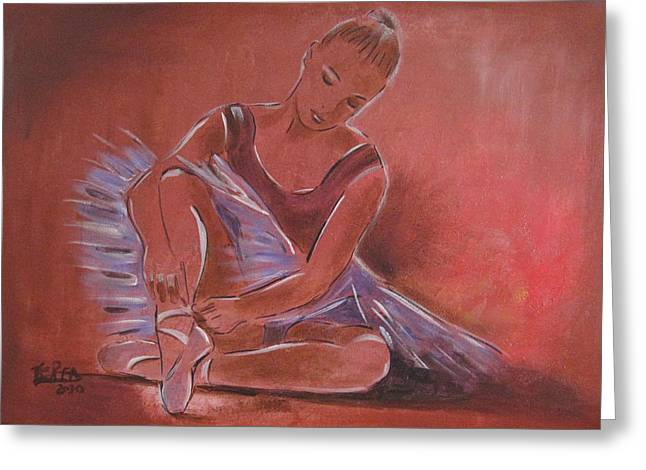 Tutu Mixed Media Greeting Cards - Ballerina sitting Greeting Card by Vered Thalmeier