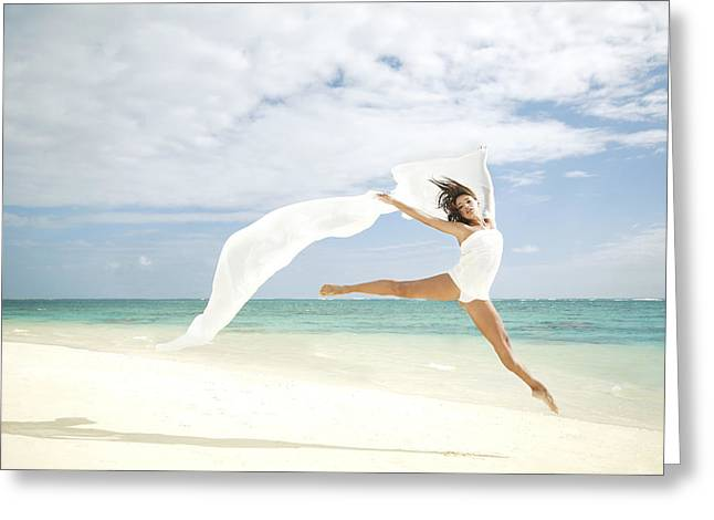 Blows Air Greeting Cards - Ballet on Beach Greeting Card by Brandon Tabiolo - Printscapes