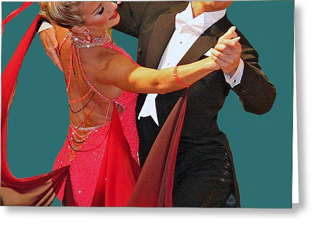 BALLROOM DANCERS Greeting Card by Larry Linton