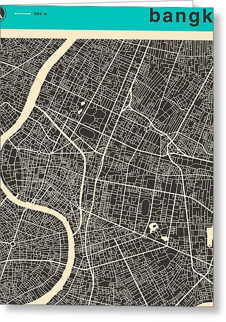 Bangkok Greeting Cards - Bangkok Map Greeting Card by Jazzberry Blue