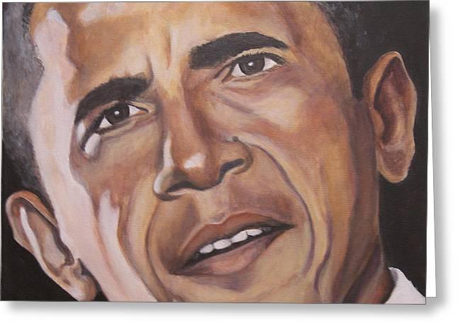 Barack Obama Greeting Card by Kenneth Kelsoe