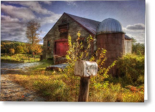 Barn And Silo In Autumn Greeting Card by Joann Vitali