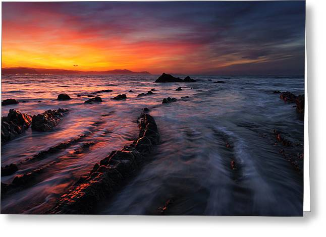 Rocks Greeting Cards - Barrika beach at sunset Greeting Card by Mikel Martinez de Osaba