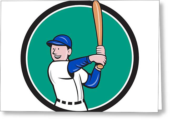 Batting Helmet Greeting Cards - Baseball Player Batting Stance Circle Cartoon Greeting Card by Aloysius Patrimonio