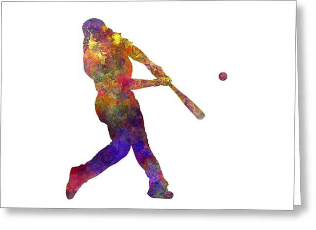 Batter Paintings Greeting Cards - Baseball player hitting a ball Greeting Card by Pablo Romero