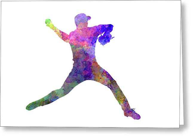 Batter Paintings Greeting Cards - Baseball player throwing a ball Greeting Card by Pablo Romero