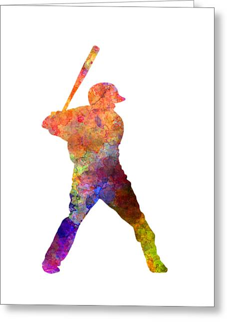 Batter Paintings Greeting Cards - Baseball player waiting for a ball Greeting Card by Pablo Romero