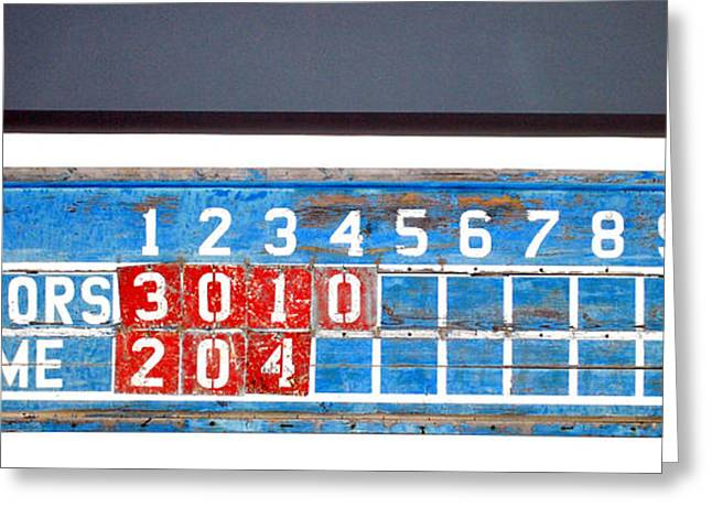 Pastimes Greeting Cards - Baseball scoreboard. Greeting Card by Oscar Williams
