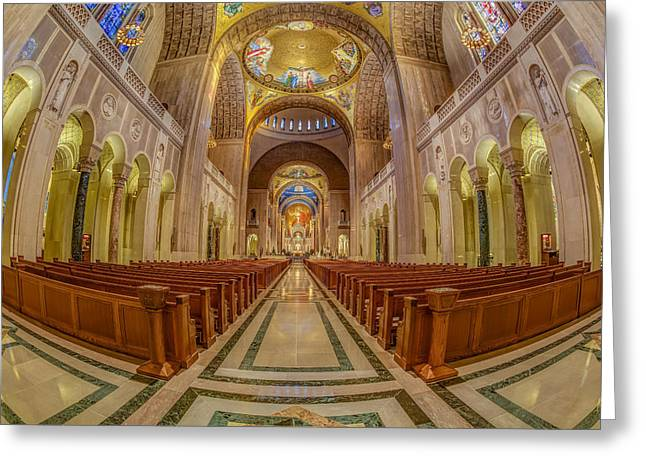 Byzantine Greeting Cards - Basilica of the National Shrine of the Immaculate Conception Greeting Card by Susan Candelario