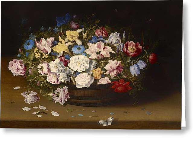Interior Still Life Paintings Greeting Cards - Basket Of Flowers Greeting Card by Osias Beert