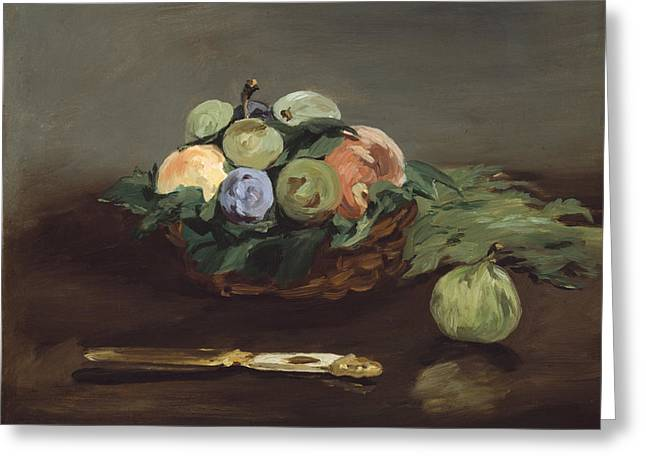 Interior Still Life Paintings Greeting Cards - Basket Of Fruit Greeting Card by Edouard Manet