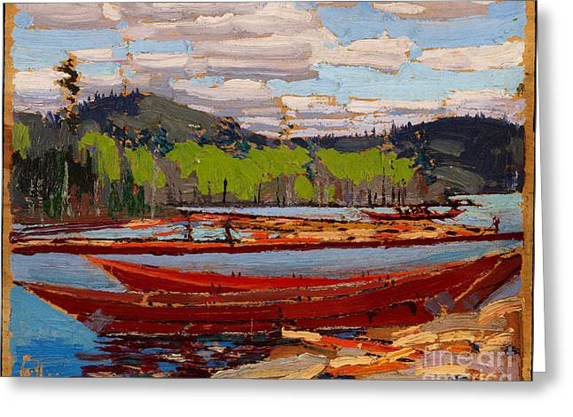 Canoe Paintings Greeting Cards - Bateaux Greeting Card by Tom Thomson
