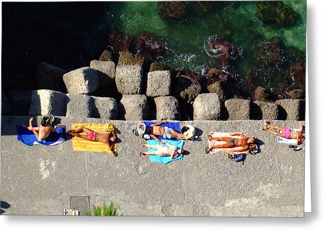 Sunbathing Greeting Cards - Bathers Greeting Card by Mindy Newman