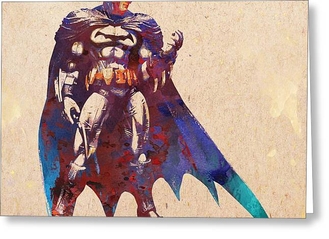 Christian Bale Greeting Cards - Batman Greeting Card by Elena Kosvincheva