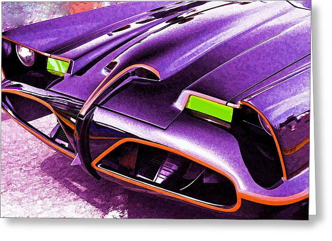 Super Stars Greeting Cards - Batmobile Greeting Card by Allen Beatty