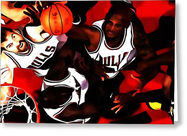 Pippen Mixed Media Greeting Cards - Battle In The Paint Greeting Card by Brian Reaves
