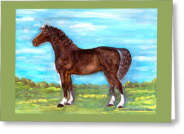 Krakowscy Malarze Greeting Cards - Bay Horse Greeting Card by Anna Folkartanna Maciejewska-Dyba