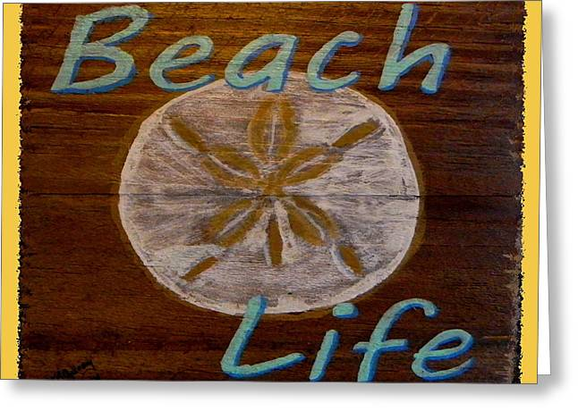 Beach Sign Greeting Card by M Gilroy