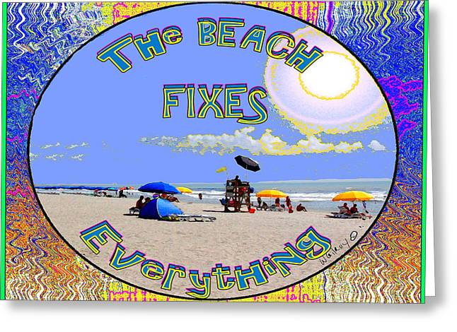 Beach Sign Greeting Card by W Gilroy