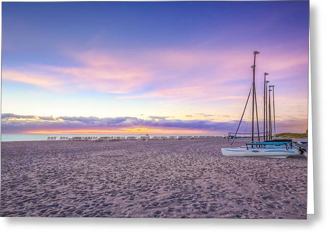 Canoe Greeting Cards - Beach Tranquility Greeting Card by Debra and Dave Vanderlaan