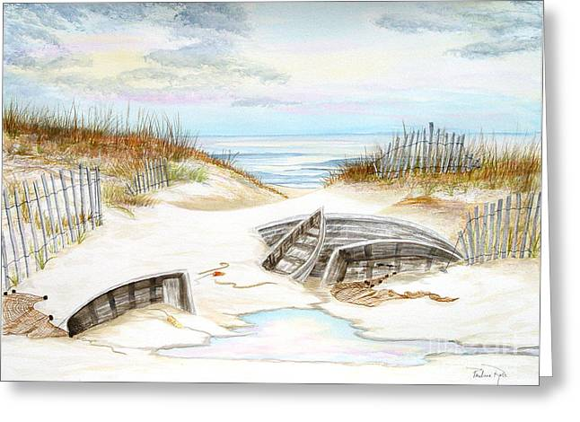 Beached Boats Greeting Card by Pauline Ross
