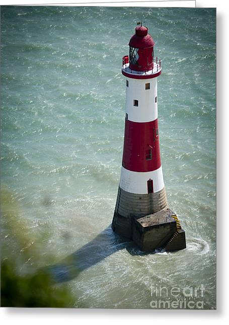 White Jewelry Greeting Cards - Beachy Head Lighthouse. Greeting Card by Donald Davis