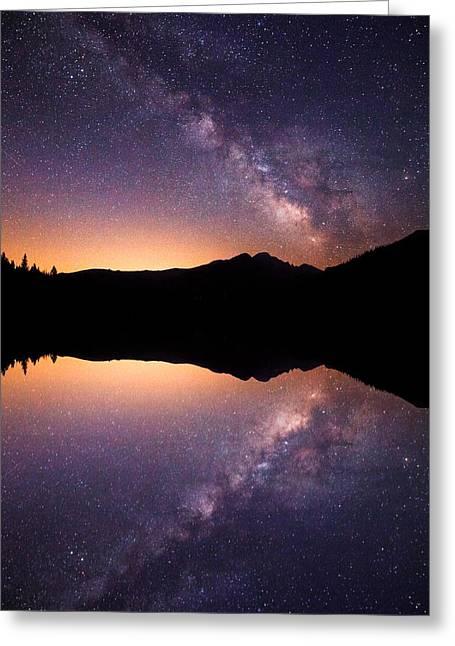 Darren Greeting Cards - Bear lake Milky Way Greeting Card by Darren  White