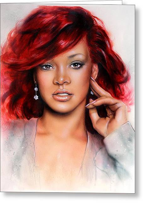 Rihanna Paintings Greeting Cards - beautiful airbrush portrait of RihanA beautiful airbrush portrait of Rihanna with red hair and a fac Greeting Card by Jozef Klopacka
