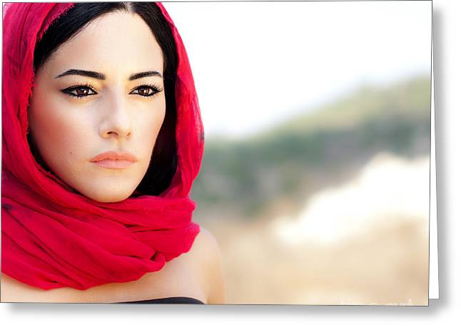 Persian Women Greeting Cards - Beautiful arabic woman Greeting Card by Anna Omelchenko