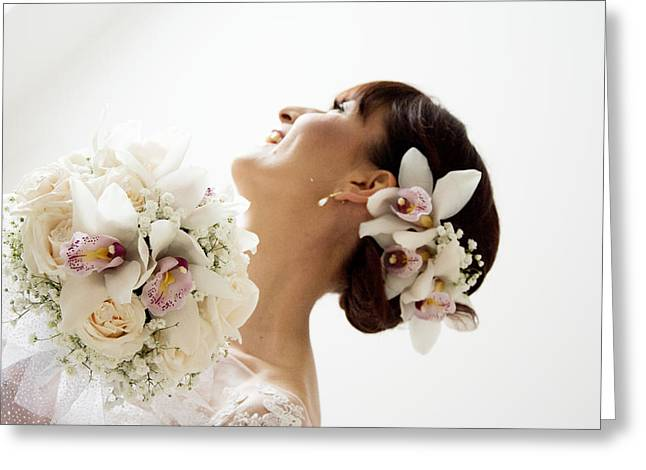 Eyelash Greeting Cards - Beautiful bride with her bouquet  Greeting Card by Newnow Photography By Vera Cepic