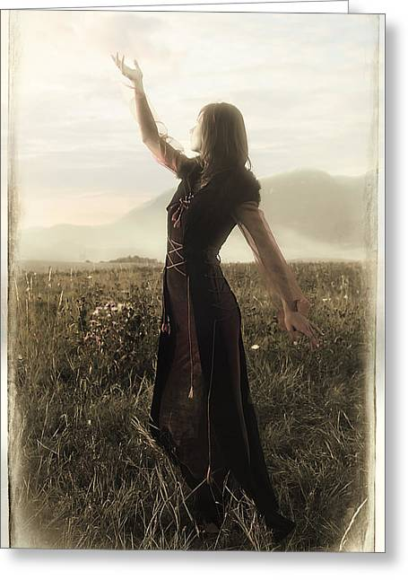Long Sleeved Dress Greeting Cards - Beautiful Fairy Girl In A Historical Costume With Long Transparent Sleeves Standing Amids A Wild Mea Greeting Card by Jozef Klopacka