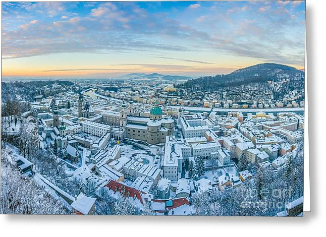Historic Architecture Greeting Cards - Beautiful historic city of Salzburg in winter at sunset, Austria Greeting Card by JR Photography