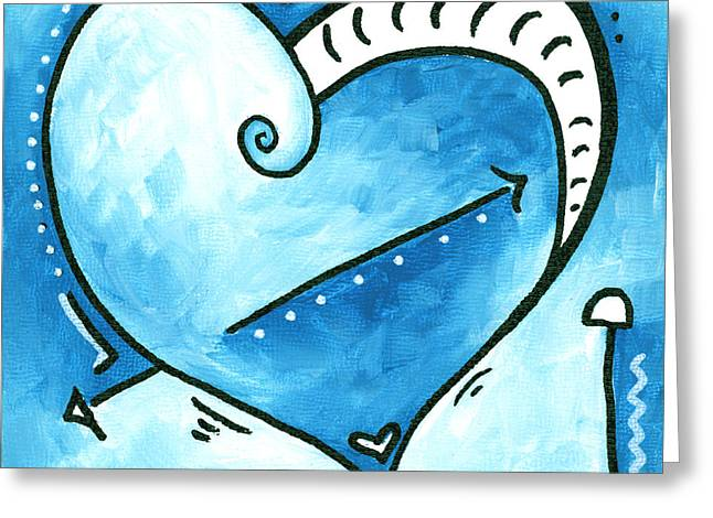 Unique Art Greeting Cards - Beautiful Original Acrylic Heart Painting from the PoP of Love Collection by MADART Greeting Card by Megan Duncanson