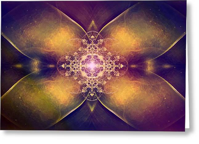 Tion Greeting Cards - Beautiful ornamental flower fractal with shinig cross ornament Greeting Card by Jozef Klopacka