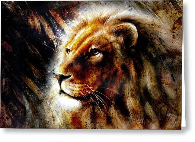 Royal Art Greeting Cards - Beautiful  Painting Of A Lion Head With A Majesticaly Peaceful Expression Profile Portrait Greeting Card by Jozef Klopacka