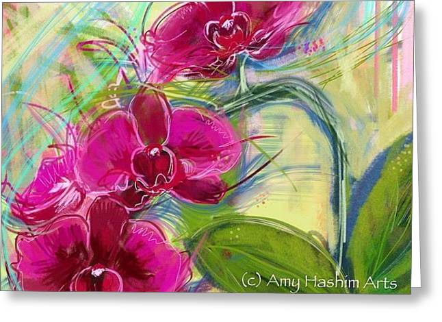 Aha Greeting Cards - Beautiful pink orchids Greeting Card by Amy  Hashim