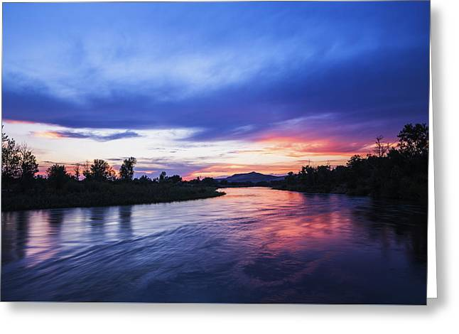 Reflections Of Trees In River Greeting Cards - Beautiful sunset along Boise River Greeting Card by Vishwanath Bhat