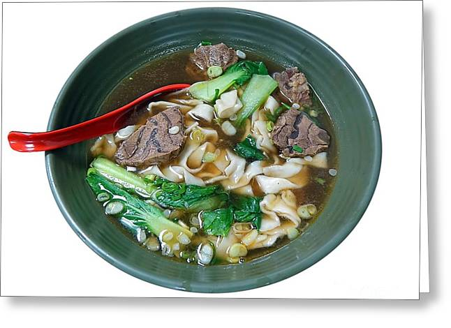 Noodles Greeting Cards - Beef Noodle Soup Greeting Card by Yali Shi