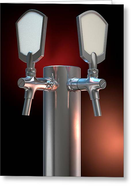 Beer Tap Dual Dark Greeting Card by Allan Swart