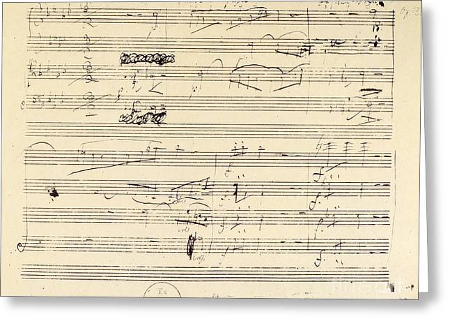 Quartet Photographs Greeting Cards - Beethoven Manuscript, 1826 Greeting Card by Granger